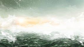 抽象海洋-宽风景 免版税库存图片