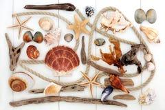 抽象海滩艺术拼贴画 免版税库存照片