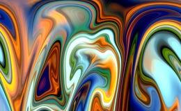抽象液体嬉戏的五颜六色的波形,对比抽象背景 库存例证