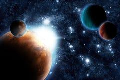 抽象深火光行星空间星期日 向量例证