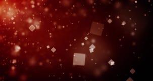 抽象深红背景的优质使成环的动画与方形的bokeh defocused光(无缝的圈, 4K)的 股票录像