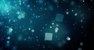 抽象深蓝背景的优质使成环的动画与方形的bokeh defocused光(无缝的圈, 4K)的 股票录像