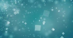 抽象深蓝蓝色背景的优质使成环的动画与方形的bokeh defocused光(无缝的圈, 4K)的 影视素材