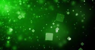 抽象深绿背景的优质使成环的动画与方形的bokeh defocused光(无缝的圈, 4K)的 股票录像