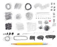 抽象混乱圆的剪影 您的设计的铅笔图 图画要素自然徒手画风格化 也corel凹道例证向量 背景查出的白色 库存照片
