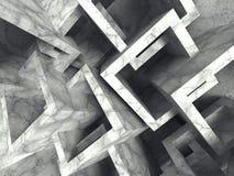 抽象混凝土求混乱建筑学背景的立方 库存例证