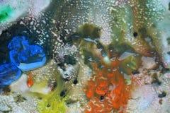 抽象混杂的油漆颜色和颜色 抽象独特的湿油漆背景 绘画斑点 免版税库存照片