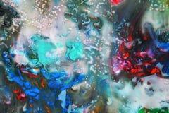 抽象混杂的紫色橙红蓝色颜色和颜色 抽象独特的湿油漆背景 绘画斑点 库存图片