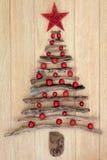 抽象漂流木头圣诞树 库存图片