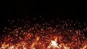抽象火火焰燃烧的无缝的动画 飞行从热的灼烧的背景样式的火和灰天空 皇族释放例证