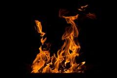 抽象火焰 在黑背景的火元素 免版税库存照片