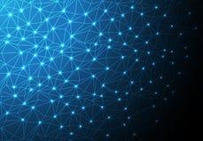 抽象灯光管制线滤网多角形网络数据互联网蓝色技术背景传染媒介 免版税图库摄影
