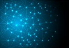 抽象灯光管制线滤网多角形网络数据互联网蓝色技术背景传染媒介 库存图片