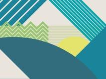 抽象物质设计风景传染媒介背景 山和森林多角形几何形状 免版税图库摄影