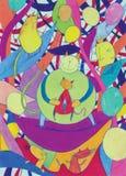 抽象猫五颜六色的幻想许多 免版税库存照片