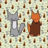 抽象猫和狗背景 库存图片
