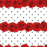 抽象玫瑰圆点无缝的样式 向量 免版税库存照片