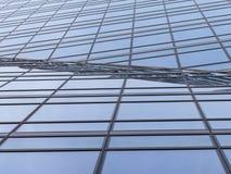 抽象现代建筑学背景 金属玻璃窗和框架透视几何线  免版税图库摄影