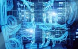 抽象现代数据中心室 电子计算机硬件技术概念 墙纸技术背景 皇族释放例证