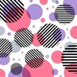 抽象现代时尚桃红色和紫色圈子样式与对角黑线在白色背景 库存例证