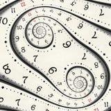 抽象现代白色超现实的螺旋时钟分数维扭转了手表异常的抽象纹理背景 高分辨率时钟转动 向量例证