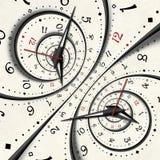 抽象现代白色超现实的螺旋时钟分数维扭转了手表异常的抽象纹理背景 高分辨率时钟转动 免版税库存照片