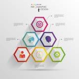抽象现代六角infographic 3d数字式例证 库存照片