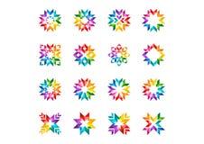 抽象现代圈子商标、彩虹、箭头,元素,花卉,套圆的星和太阳标志象传染媒介设计 免版税库存照片