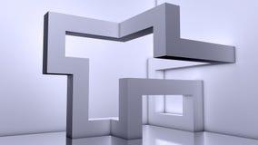 抽象现代建筑学背景, 3d块 免版税库存照片