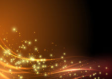 抽象现代闪烁轻的火光波浪 库存照片