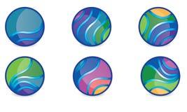 抽象球形商标传染媒介莫代尔被环绕的商标 图库摄影