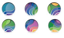 抽象球形商标传染媒介莫代尔被环绕的商标 免版税库存照片