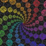 抽象球形彩虹背景转动的螺旋  免版税库存照片