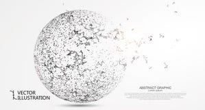 抽象球形,互联网连接 库存例证