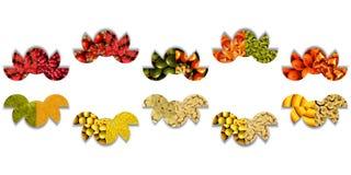 抽象瓢虫由半圆做成有很多水果的纹理 免版税图库摄影