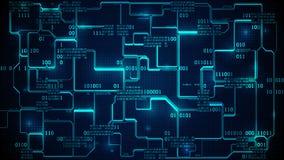 抽象电子线路板二进制编码、神经网络和大数据-人工智能,与数字的矩阵背景 向量例证