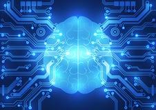 抽象电路数字式脑子,技术概念 向量例证