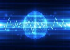 抽象电路数字式脑子,技术概念 库存照片