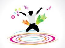 抽象男孩圈子五颜六色的跳的通知 免版税库存照片
