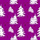 抽象白色冷杉木和星在紫色 库存例证