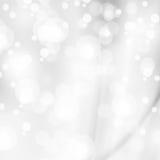 抽象白色发光的光,银色背景 库存图片