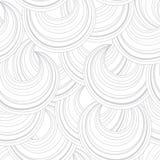 抽象白色圈子线条纹无缝的样式 混乱流程 库存图片