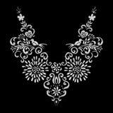 抽象白花和鸟刺绣艺术品设计 免版税库存图片