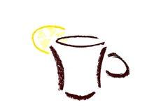 抽象盖帽图标柠檬茶 库存照片