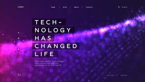 抽象着陆页模板有明亮的紫色微粒背景-技术改变了生活,可以使用为 皇族释放例证