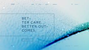 抽象着陆页模板有蓝色微粒背景-更好的关心更好的结果,可以为医疗使用 库存例证