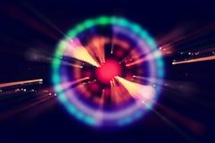 抽象科学小说未来派背景 透镜火光 空间或时间旅行的概念图象在明亮的光的 库存图片