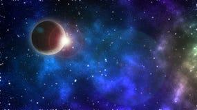 抽象科学背景-与日出闪光的发光的行星地球在太空船星系的 库存照片