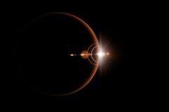 抽象科学背景-发光的行星 免版税库存图片