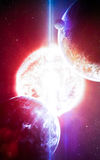 抽象科学背景-在空间、星云和星的行星 美国航空航天局美国航空航天局装备的这个图象的元素 gov. 库存照片